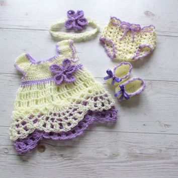 Crochet Baby Outfit Pattern : Crochet baby girl outfit in cream purple baby dress ...