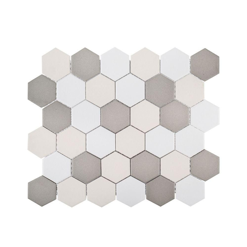 Jeffrey Court Honeycomb 11 In X 12 625 In X 6 Mm Matte Porcelain Mosaic Floor And Wall Tile 99392 The Home Depot Mosaic Flooring Jeffrey Court Porcelain Mosaic