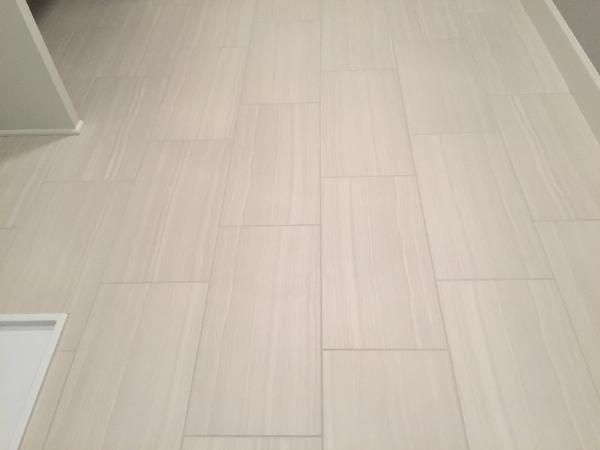we installed the 12x24 porcelain floor tile in this laundry room