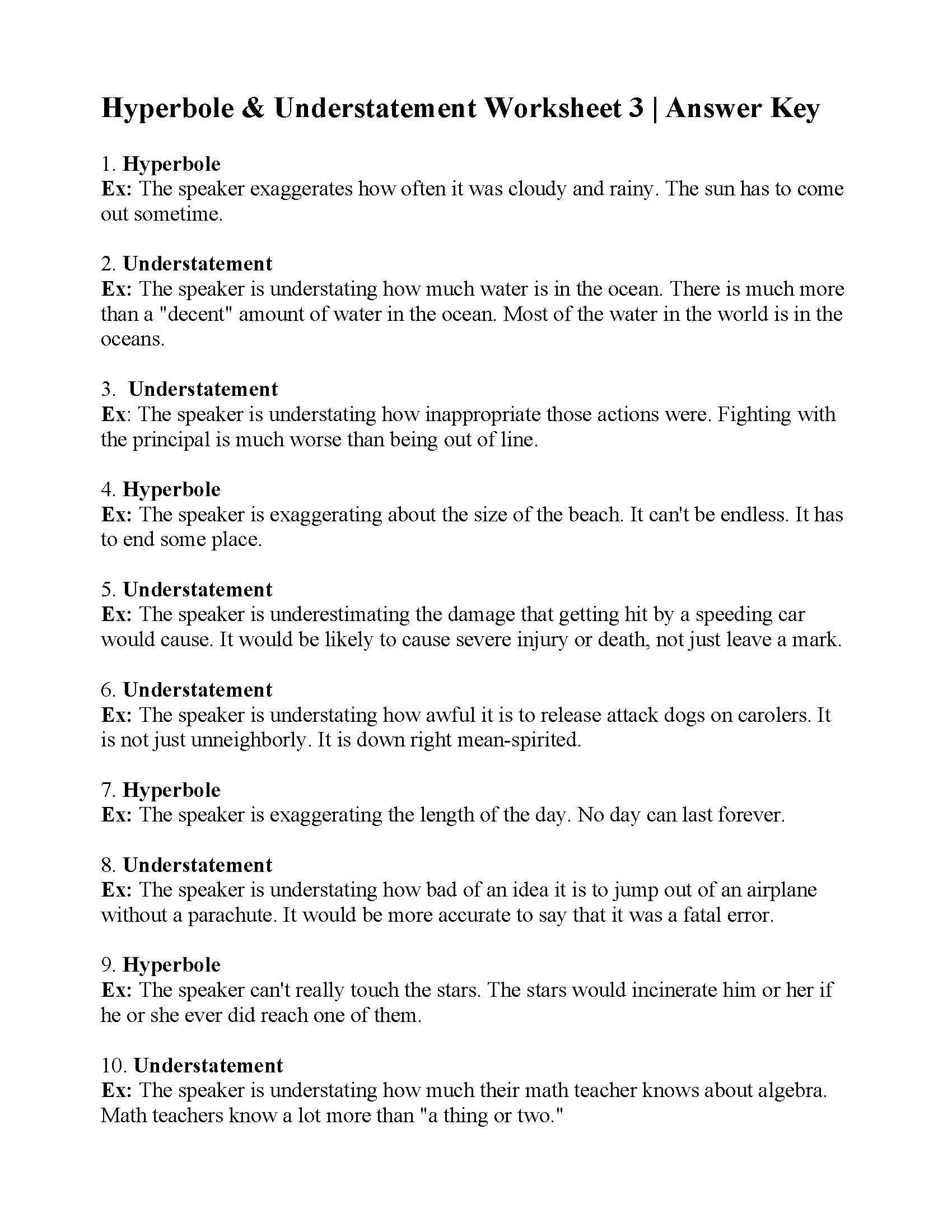 Figurative Language Worksheet 3 Answers