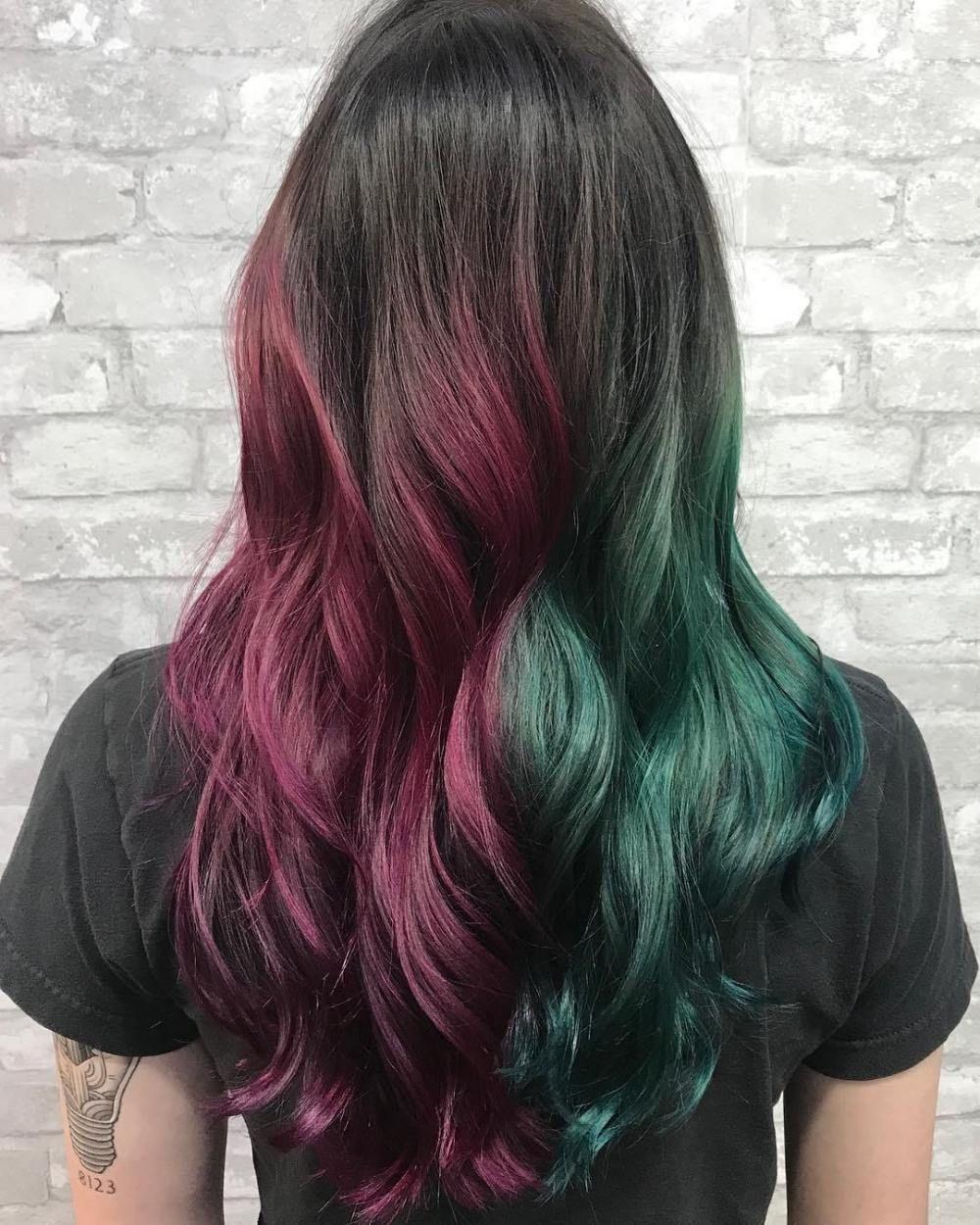 7 Badass Split Hair Color Ideas And Tips Based On My Experience Half And Half Hair Split Dyed Hair Colored Hair Tips