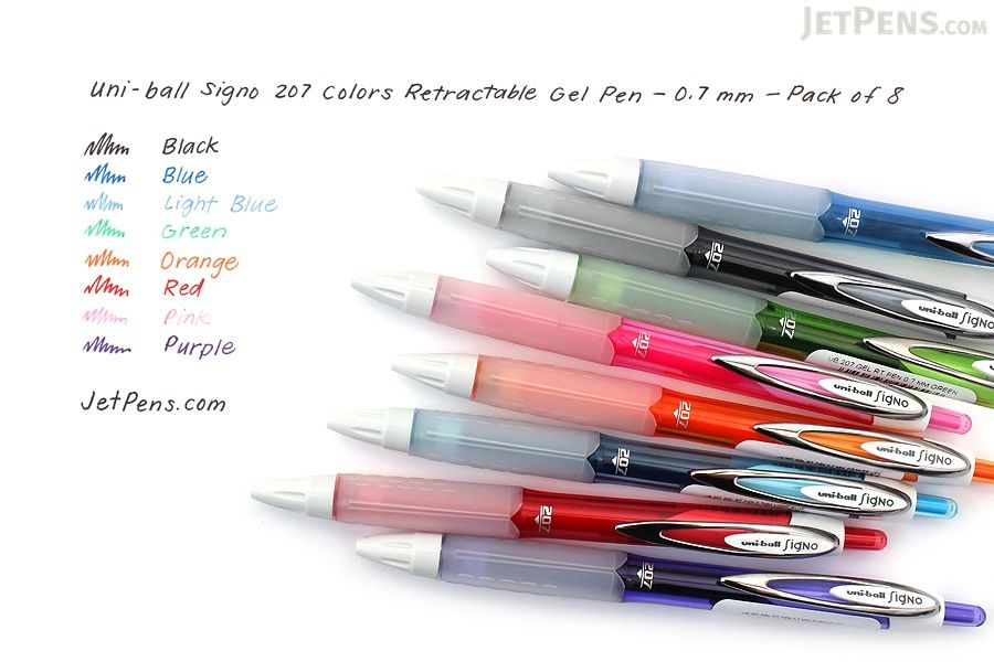 Uni-ball Signo 207 Colors Retractable Gel Pen - 0.7 mm - Pack of 8 Colors - UNI-BALL 1739929