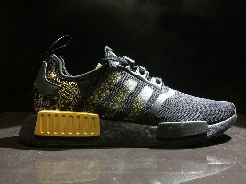 Men VERSACE x Adidas NMD R1 Black Gold