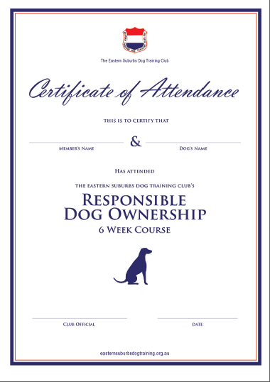 Esdtc Responsible Dog Ownership Attendance Certificate Dog Ownership Training Classes Puppy Classes
