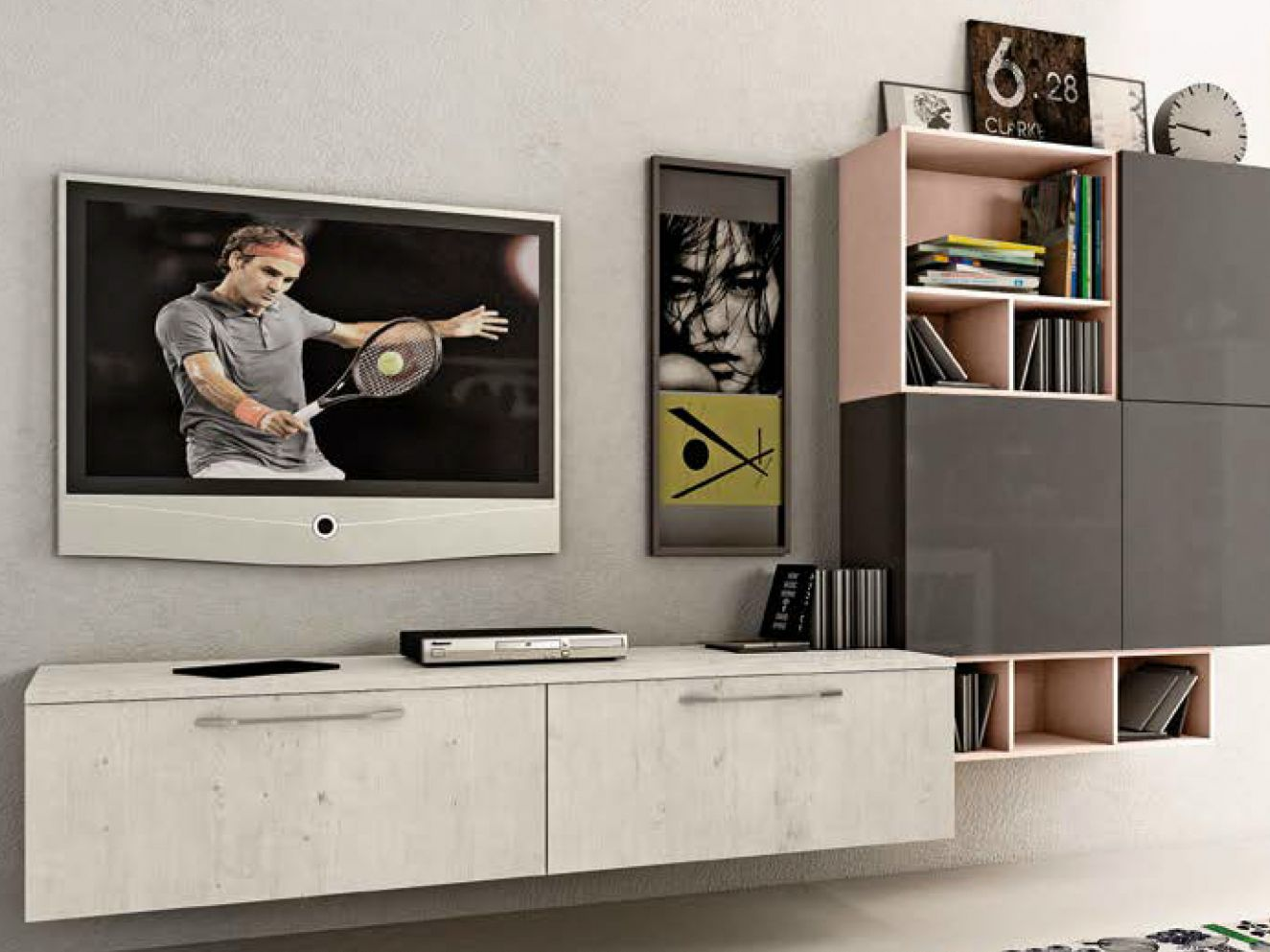 Sectional Wall Mounted Storage Wall Kyra Living Kyra Collection By  # Giellesse Muebles