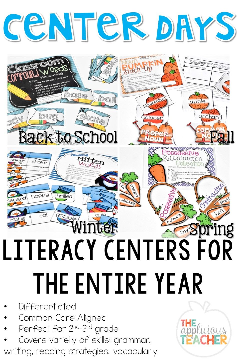 Literacy Centers for the whole year! Love her differentiated centers! They cover…