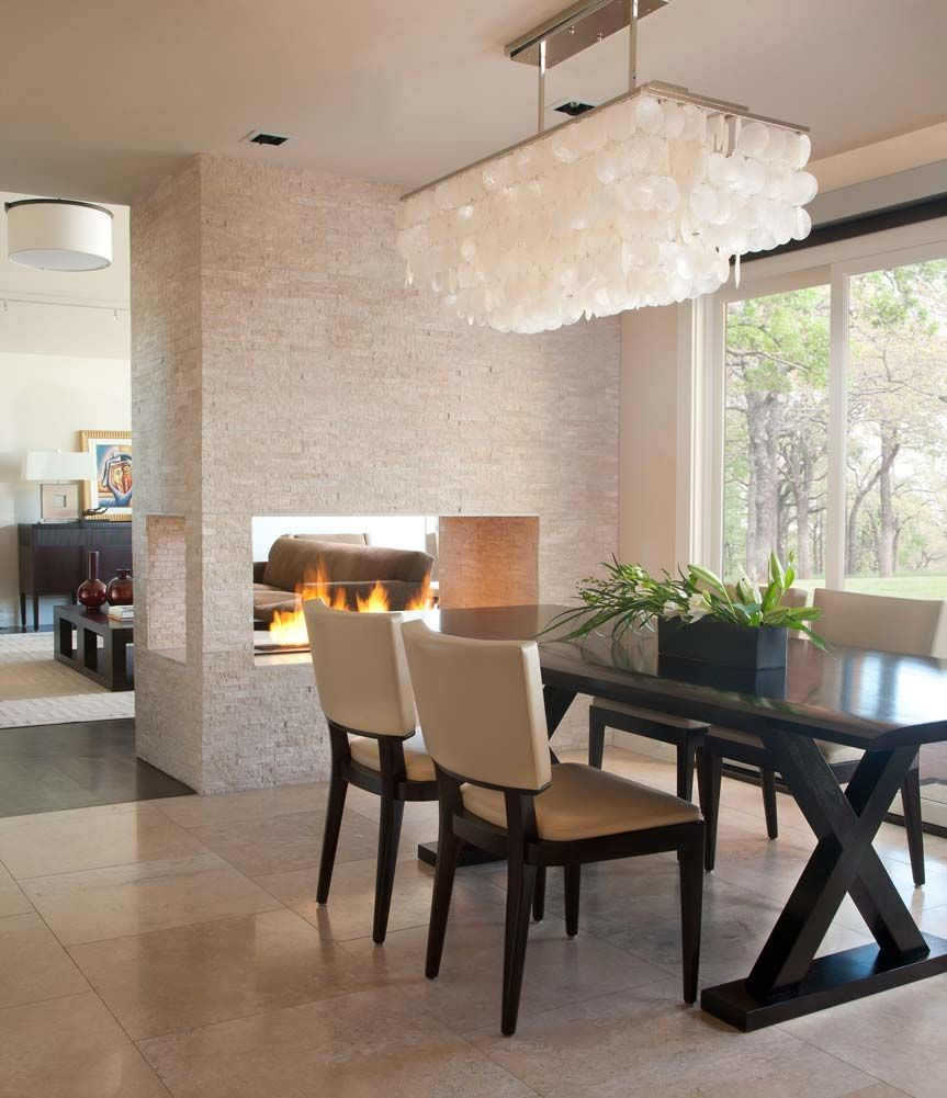 Gallery D Interiors Fireplace Transition Low To High Ceiling With Dining Area