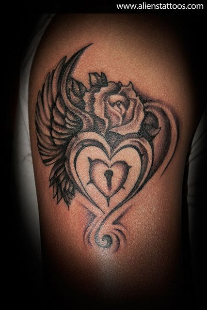 Heart With Wings And Rose Tattoo Ink Pinterest Tattoos Tattoo