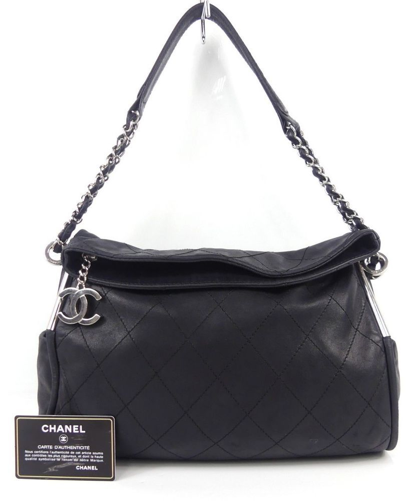 94faba82d r312 Auth CHANEL Black Quilted Lambskin Leather Small Ultimate Soft Tote Bag  SHW #fashion #clothing #shoes #accessories #womensbagshandbags (ebay link)
