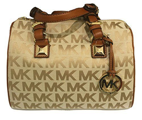 475dccf9f4ac Michael Kors Medium Grayson Satchel in Camel Luggage from the MK Signature  Collection. This gorgeous purse is a logo printed jacquard