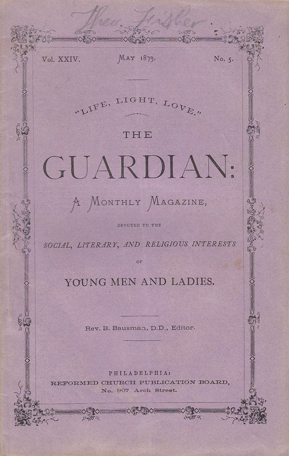 May 1873 The Guardian Magazine Social Literary Religion for Young Men & Ladies