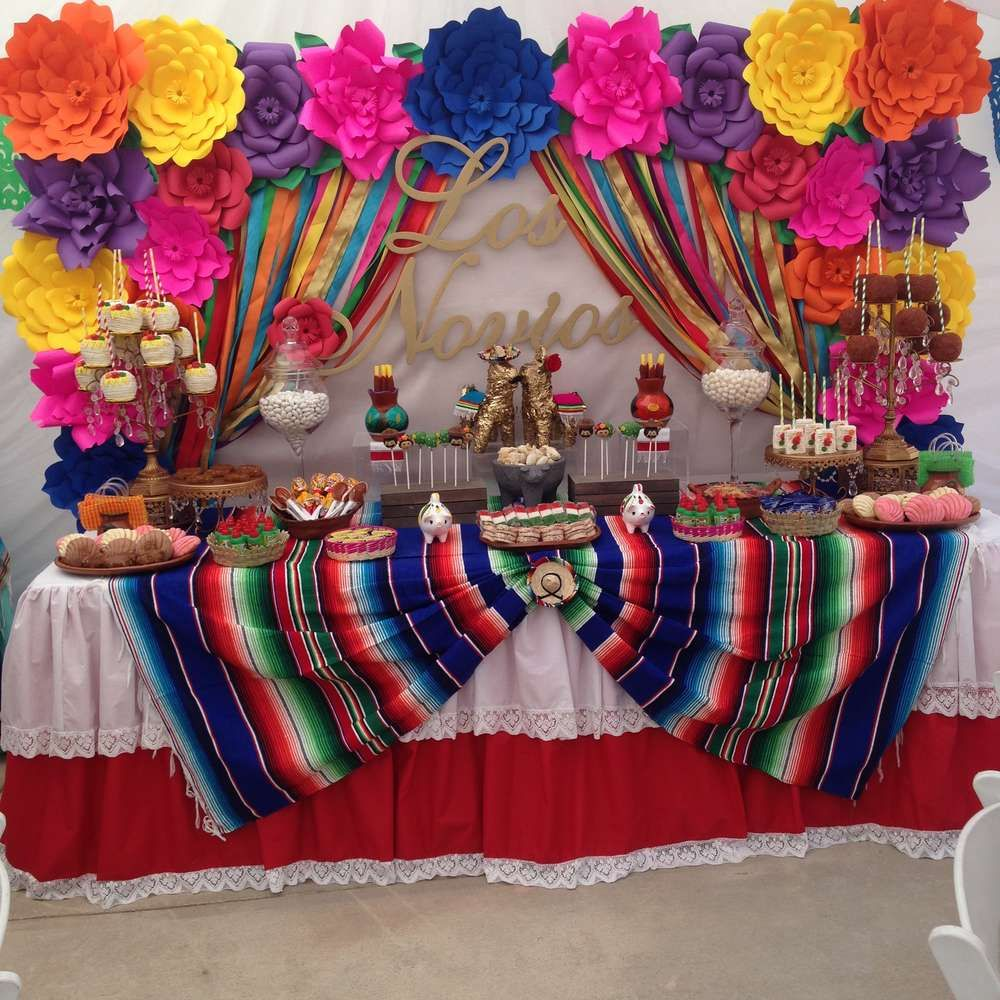 Fiesta Mexican Bridal Wedding Shower Party Ideas Photo 1 Of 19 Mexican Party Decorations Mexican Party Theme Mexican Birthday Parties