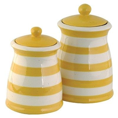 Yellow & White Striped Ceramic Kitchen Canister Set ...