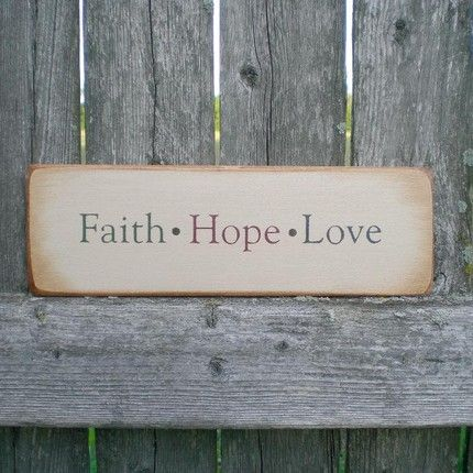 Country Decor Wood Signs Alluring Small Primitive Home Decor Wood Sign Faith Hope Love  Wood Signs Review