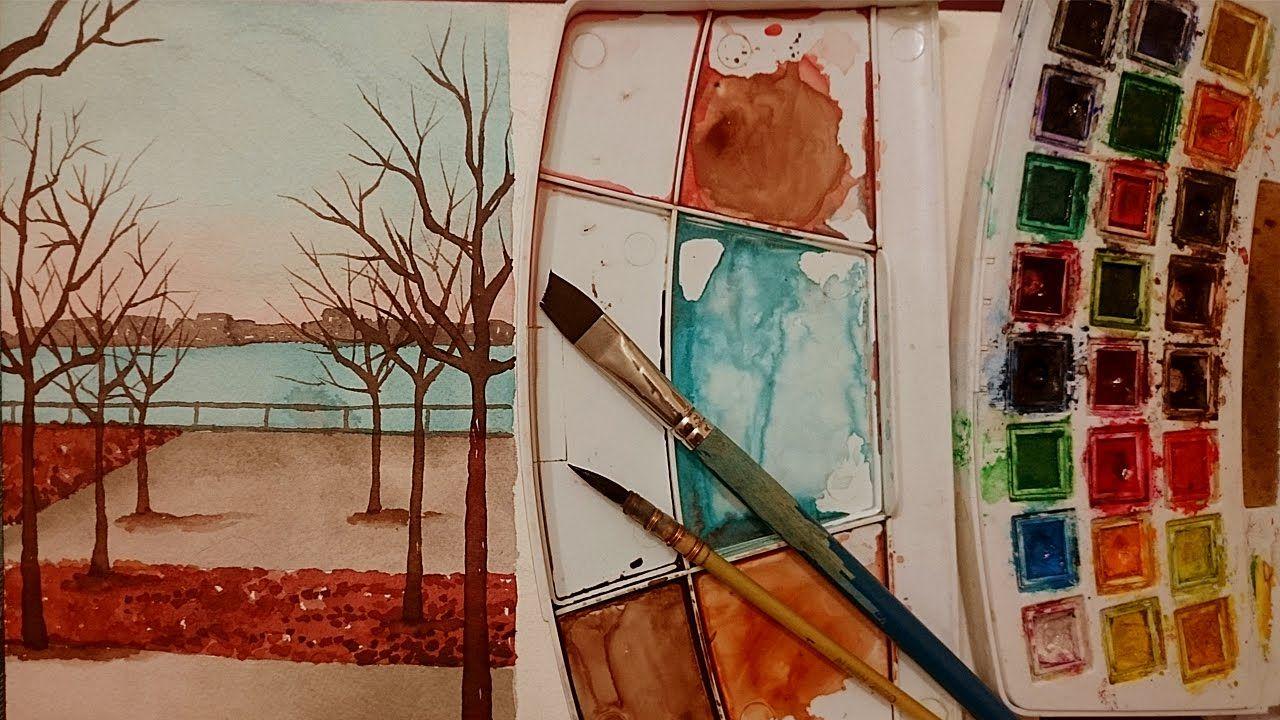 تعليم الرسم شرح كيف ترسم سكتش منظر طبيعي بسيط بالالوان المائية رسم منظر الوان مائيه سكتش Art Art Drawings Painting