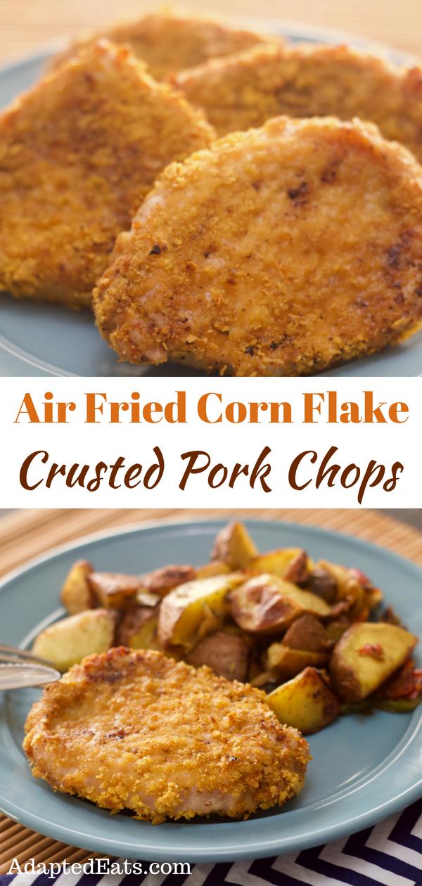 Air Fried Corn Flake Crusted Pork Chops are tender, juicy