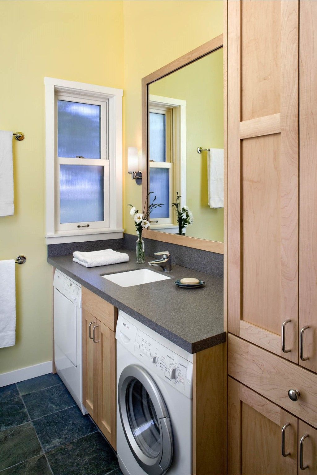 Washer Dryer Under The Bathroom Counter No Ty Little Vanity And A Great Use Of Often Wasted E