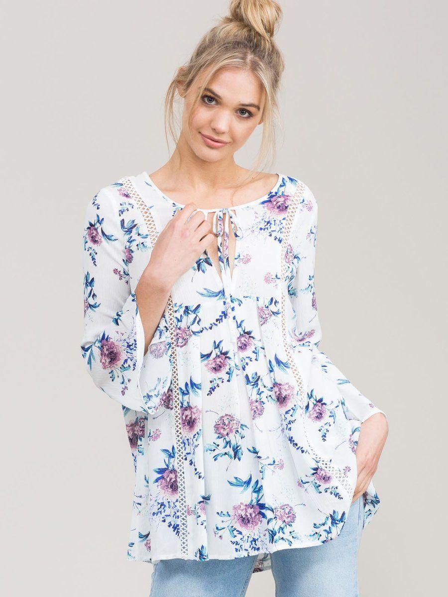 bf33ec1c845  AdoreWe StyleWe Blouses - Eden Society Multicolor Boho Woven Floral-print  Blouse - AdoreWe