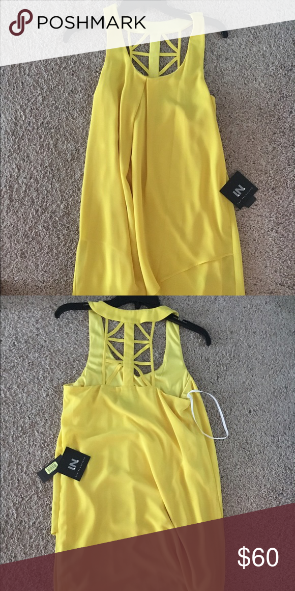 Yellow short sundress! It's prefect for a night out or summer day!! It's too big for me and never been worn!! Dresses Mini #shortsundress