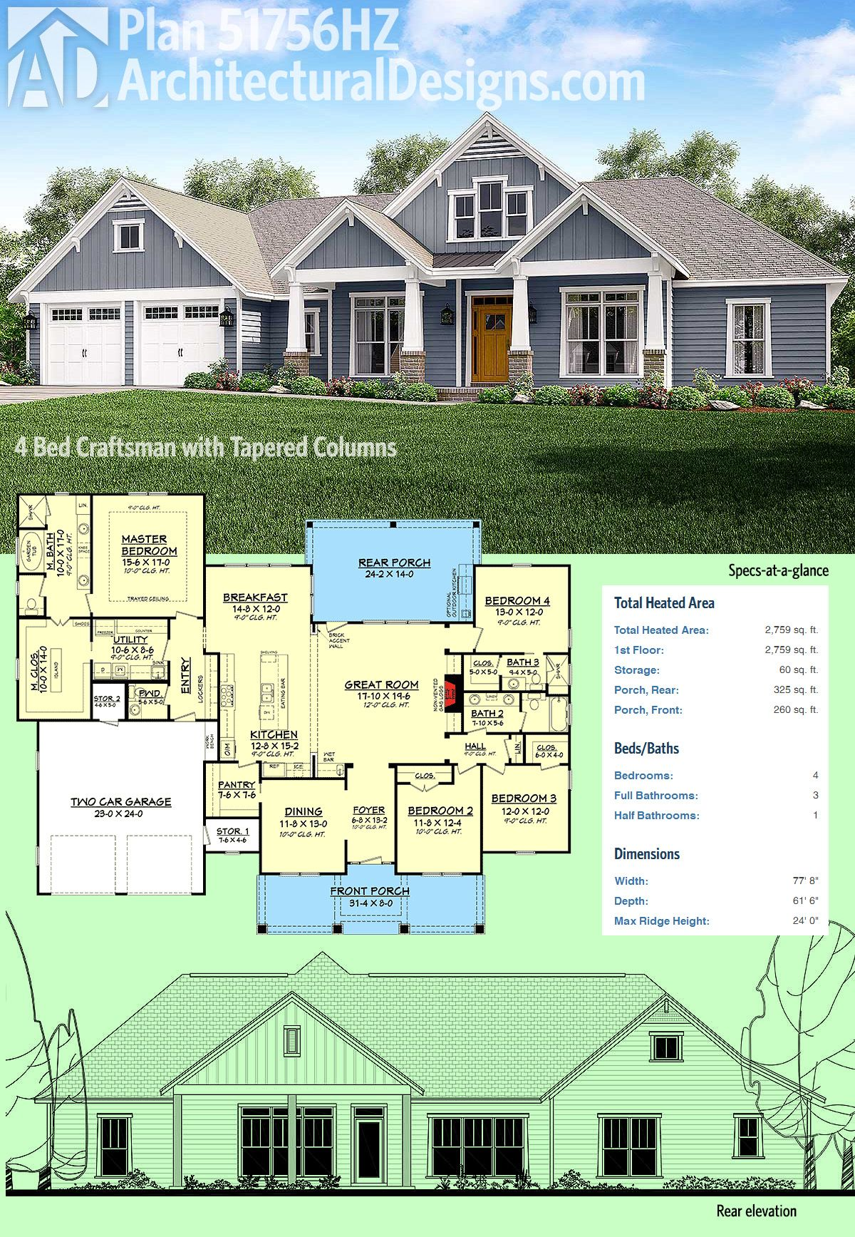Plan 51756hz 4 bed craftsman with tapered columns home for Open concept craftsman house plans