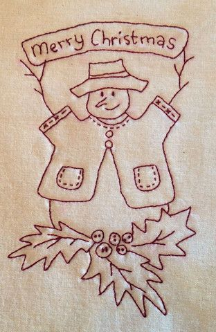 Free Redwork Pattern Stitching Cow Embroidery
