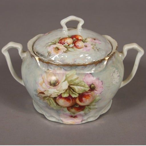 213: Porcelain Floral Transfer Decorated Biscuit Jar, C - Oct 29, 2010 | Stefek's Auctioneers & Appraisers in MI