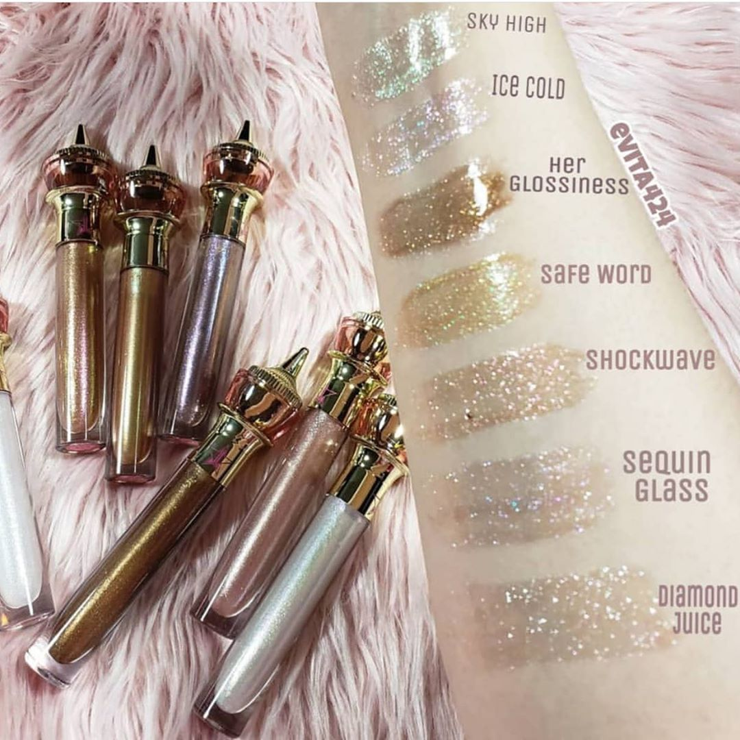 The gloss swatches Jeffree star lipstick, Jeffree star