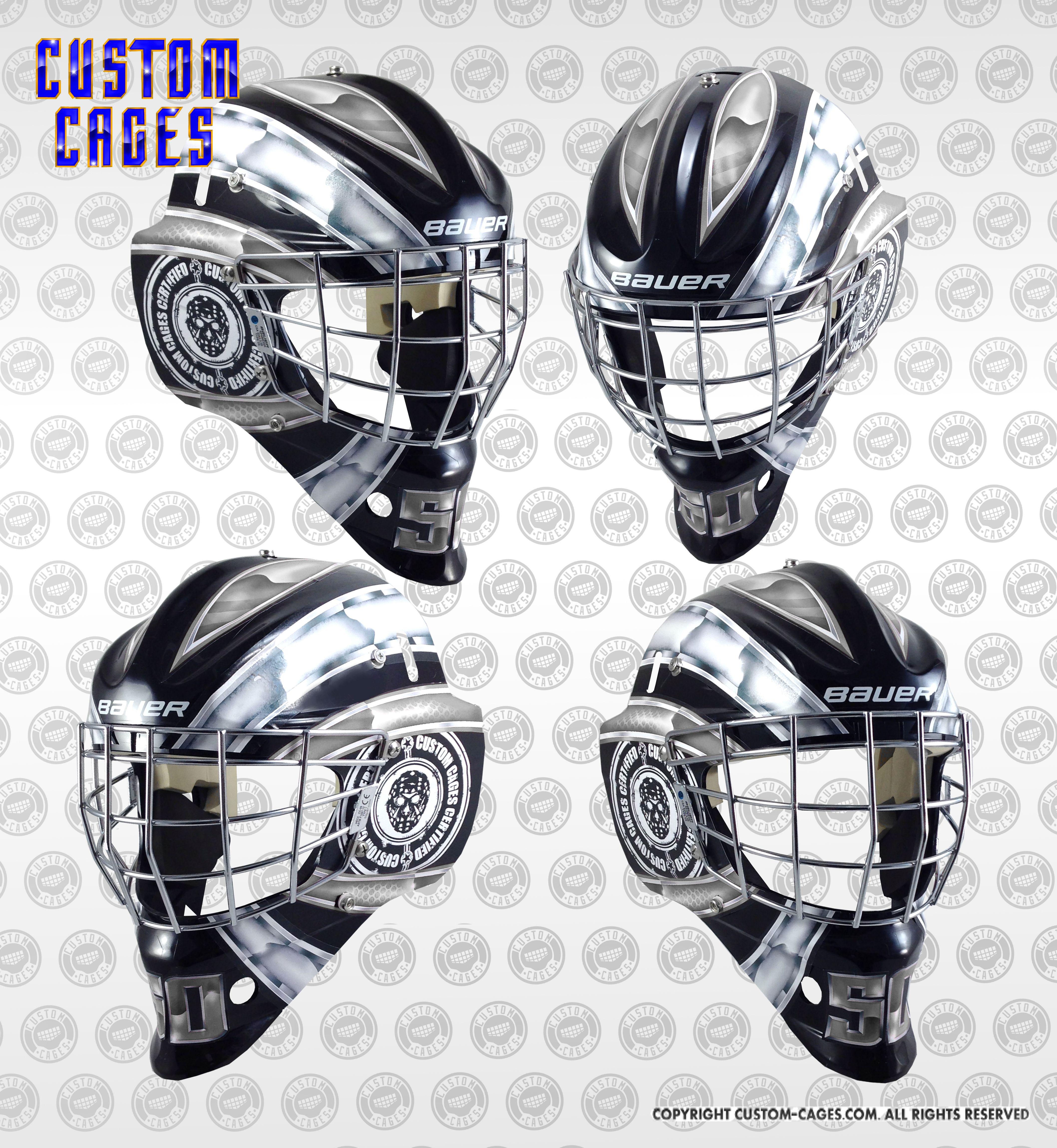 BASICGoalie Mask Vinyl Decal Set Whitegrey Jefferson Drive - Custom vinyl stickers for helmets
