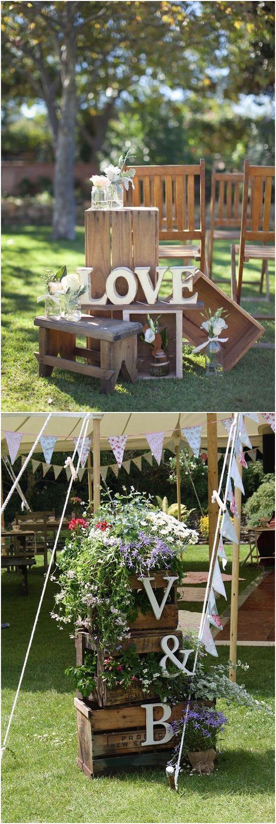 Wedding decor ideas 2018  Rustic Woodsy Wedding Trend  Wooden Crates  Woodsy wedding