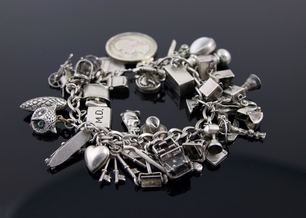 10683a31b79 VINTAGE STERLING SILVER CHARM BRACELET 1930'S - 1940'S RARE in Jewelry &  Watches, Vintage & Antique Jewelry, Fine | eBay
