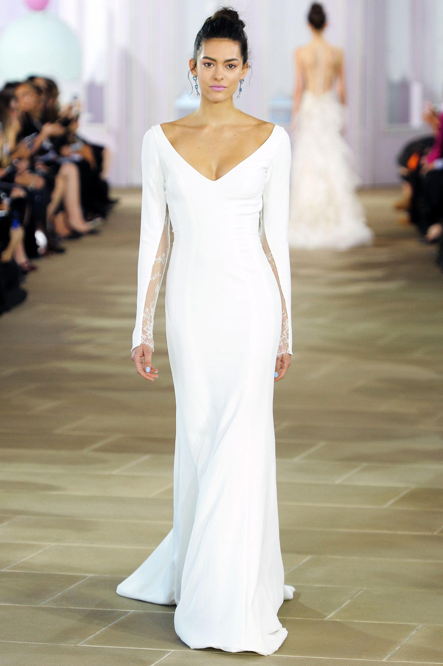 Silk sheath wedding dress  Lace inset detail provides just the right amount of romance to this