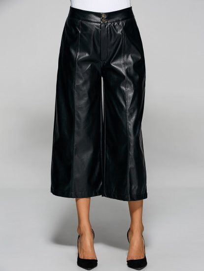 Streetwear Style Pu Leather Wide Leg Pants for Women  d99f950755