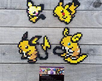 Pichu Pikachu Raichu Pokemon Perler Bead Sprites Pixel