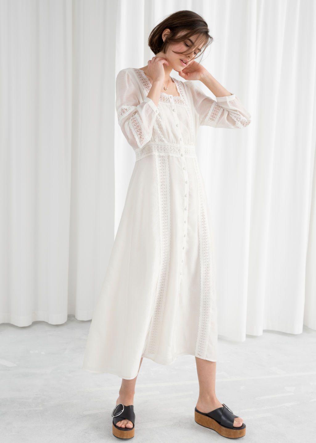 Lace Midi Dress White Midi Dresses Other Stories Us Lace White Dress Lace Midi Dress Stylish White Dress