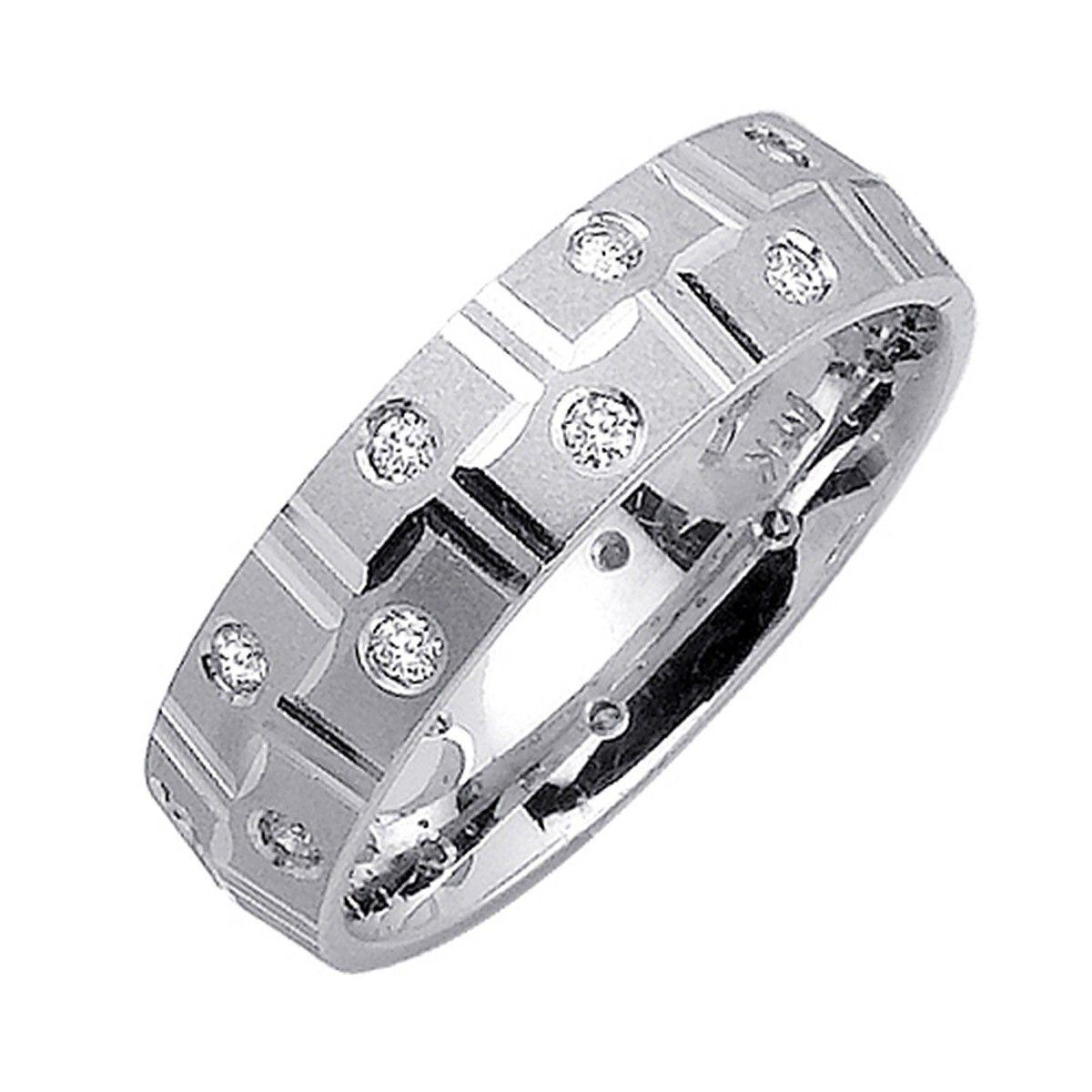 6mm 14k white gold mens diamond ring 40ct from