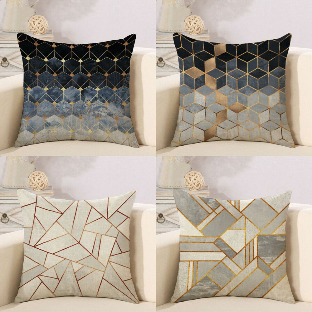 Throw Pillow Cover Sofa Bed Gold Grey