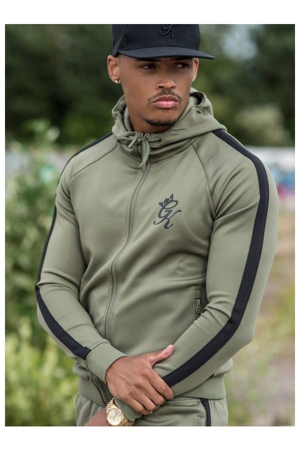 Gym King Tapered Poly Tracksuit Top - Khaki Black  e705d0222aa6