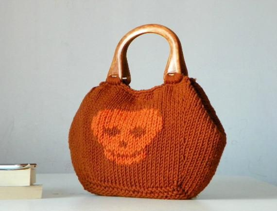 FREE EXPRESS SHIPPING, Knit handbag, Skull pattern Knitting Women Tote, fashion colors, Knit women handbag, gift idea, rusty and orange