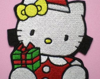 Extra large embroidered hello kitty christmas presents applique