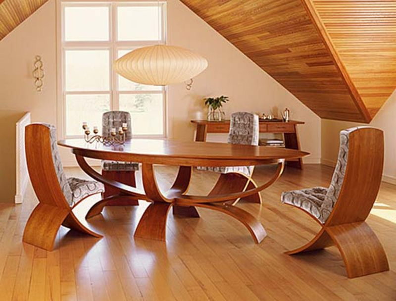 Furniture Unique Oval Wooden Dining Table Design Fabric Chairs