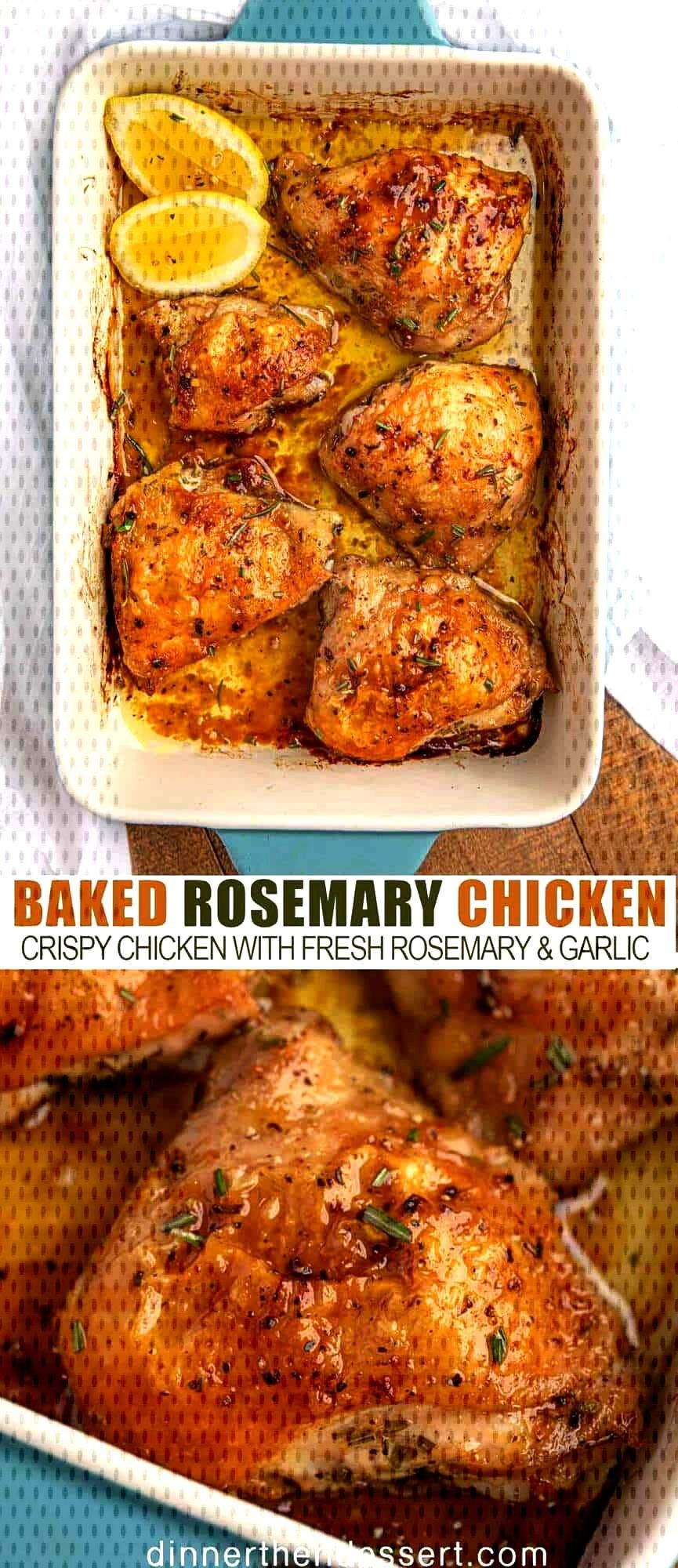 Baked Rosemary Chicken is a delicious, crispy baked chicken recipe with fresh rosemary and garlic t