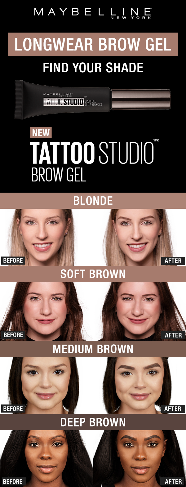Maybelline Tattoo Studio Waterproof Eyebrow Gel Creates Fuller Looking Definition That Last For Waterproof Eyebrow Eyebrow Makeup Gel Eyebrow Makeup