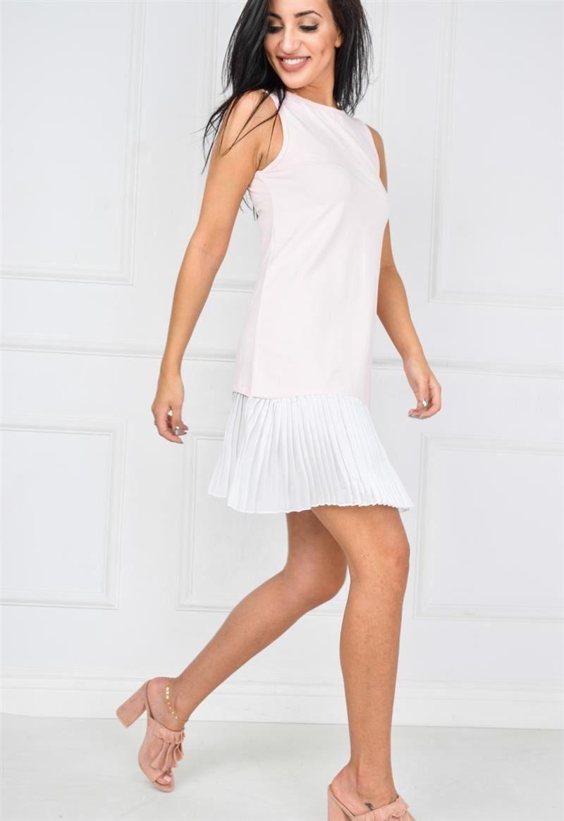 cb204fabb8 Tunika sukienka dwukolorowa z plisowanym dołem