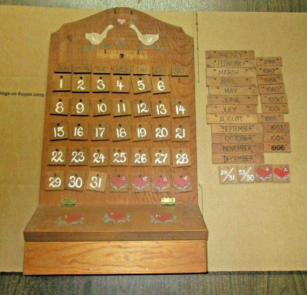 Wood Tile Perpetual Calendar Prairie Town Products 1986 1995