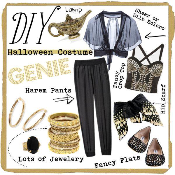 DIY GENIE COSTUME!  by mostincrediblebaby on Polyvore  sc 1 st  Pinterest & DIY: GENIE COSTUME! | Pinterest | Genie costume Costumes and ...