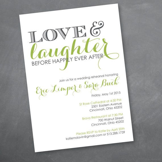 Elegant Rehearsal Dinner Menu Digital File Dinner Menu: Love And Laughter Rehearsal Dinner Invitation