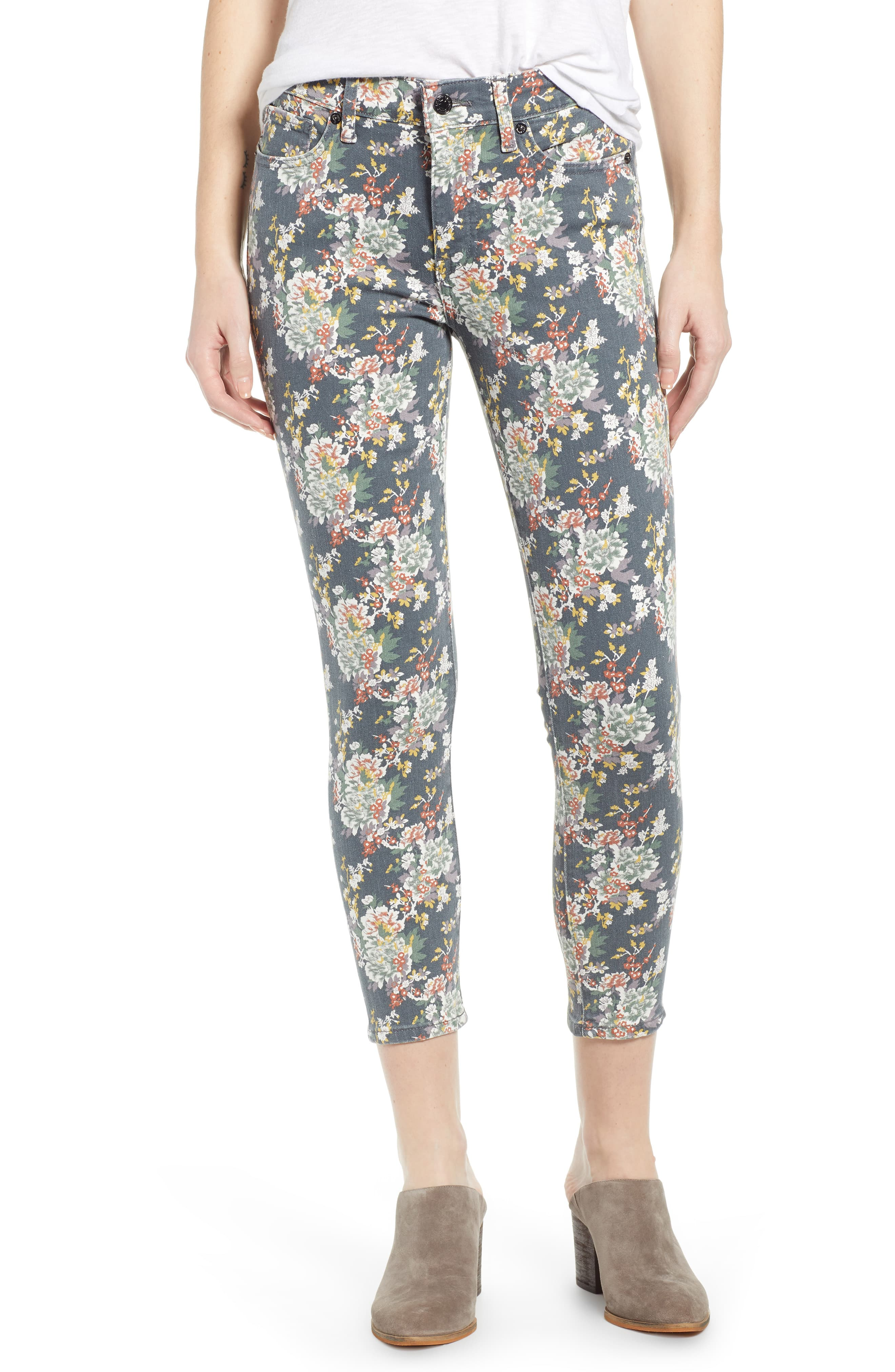 594f5e31c18d8 Women's Lucky Brand Ava Floral Crop Jeans, Size 28 - Grey | Products ...