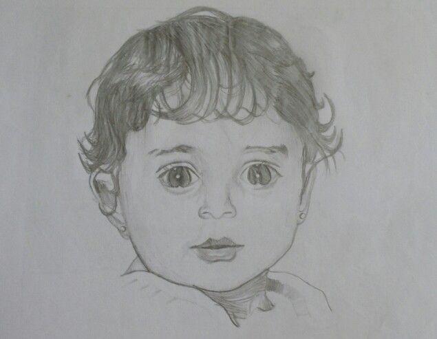 Cute baby girl Pencil drawing drawings Pinterest