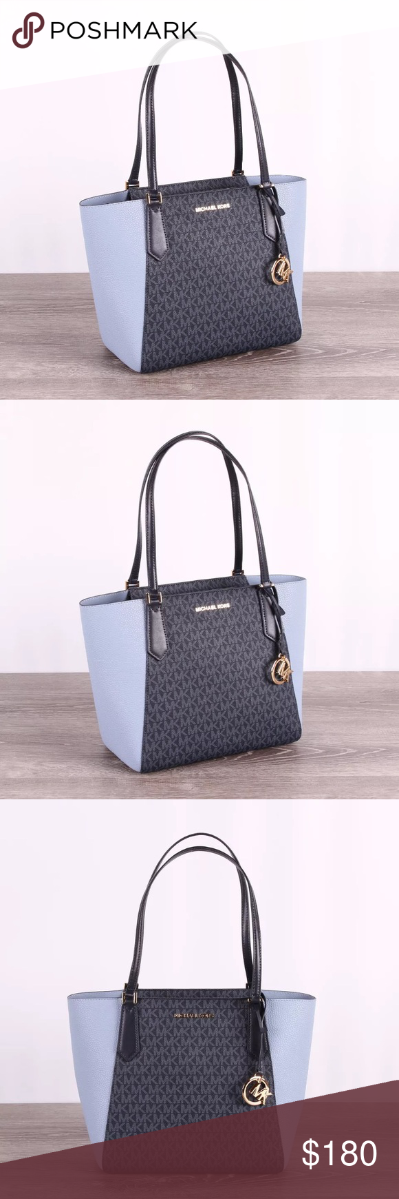 b305374fbe1a25 Michael Kors KIMBERLY Small Bonded Signature Bag Measurements(inches) :  approximately top 14