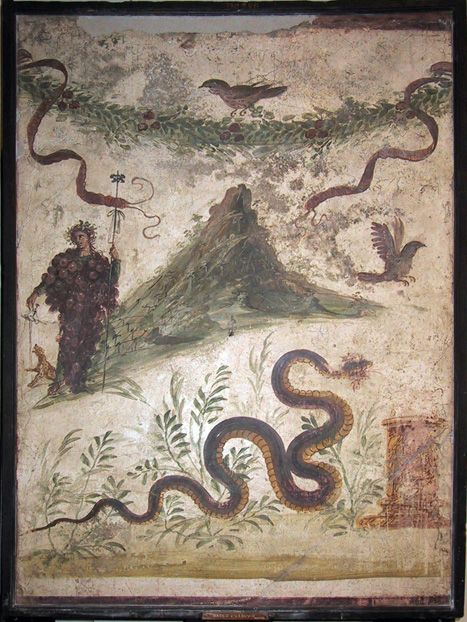 Grape-laden Bacchus next to vineyards on Vesuvius (National Archaeological Museum, Naples)